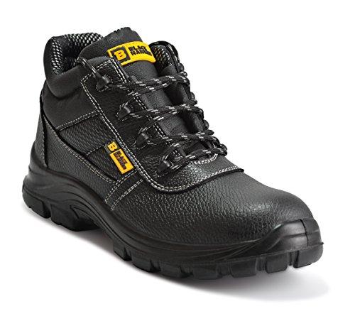 Botas de Seguridad de Cuero para Hombres Puntera de Acero Protección de Entresuela Resistente al Agua Impermeable S3 SRC Calzado de Trabajo al Tobillo de Cuero 1007 Black Hammer (39 EU)
