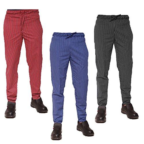 Pantalón pantalaccio algodón cocina Trabajo Azul Rayas cordón construcción, M