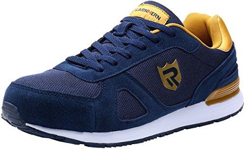 LARNMERN Zapatos de Seguridad Hombre Mujer con Puntera de Acero Zapatilla, Antideslizante ESD Comodos Calzado de Trabajo Industrial (Azul 40 EU)