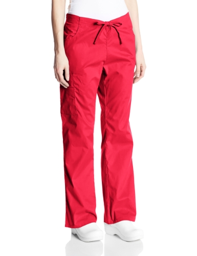 Dickies Women's Tall EDS Signature Scrubs Missy Fit Drawstring Cargo Pant, Red, Medium/Tall