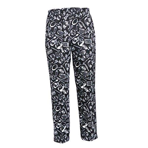 B Blesiya Pantalones de Chef Uniforme de Trabajo de Cocina Tejido Transpirable Suave Cintura Elástica con Cordón Ropas para Cocineros - Cuchillería, XL