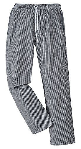 Portwest Pantalon de Chef Bromley, Longitud Regular, Color: Cuadtritos Negro/Blanco, Talla: L, C079CKRL