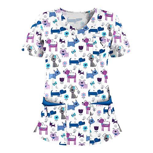Uniforme Limpieza Mujer Casaca Mujer Cuello Solapa Uniforme Manga Corta Cuello V para Enfermeras, Dentistas, Médicos, Estudiantes y Veterinarios