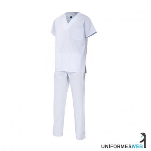 pijama de pico de manga corta en color blanco para ropa de trabajo en uniformes web