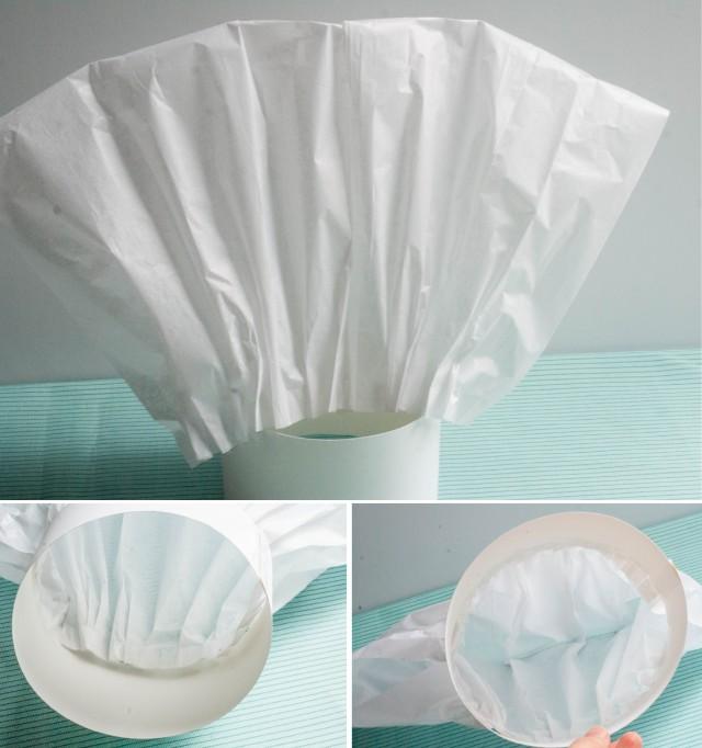 gorro de chef con papel de seda