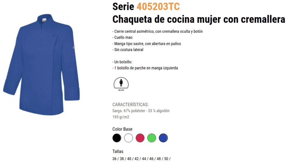 CHAQUETA DE COCINA MUJER CON CREMALLERA