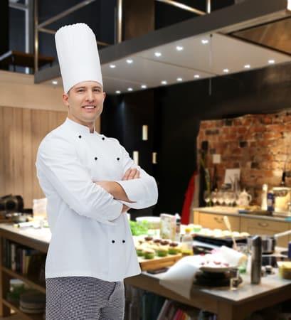la cocina la profesion y la gente concepto cocinero feliz cocinero