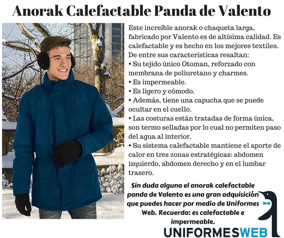 Anorak calefactable del fabricante valento